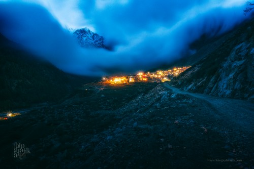 Swirly storm clouds sweep over the remote little village of Chitkul in Himachal Pradesh, India  Elevation: 3450 mts ASL