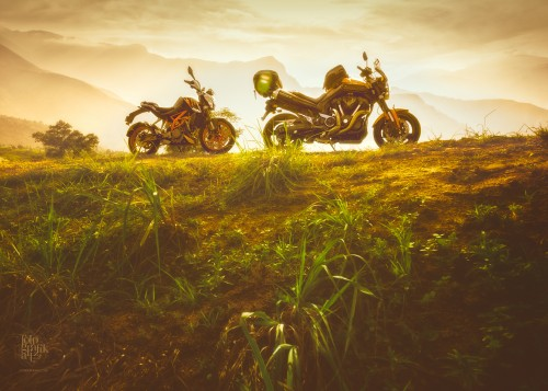 KTM Duke 390 and Yamaha MT-01 1700 at golden hour in Kanthalloor -- the fruit bowl of Kerala, India