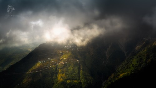 The Himalayan foothills shrouded in mist on the outskirts of Gangtok in Sikkim, India