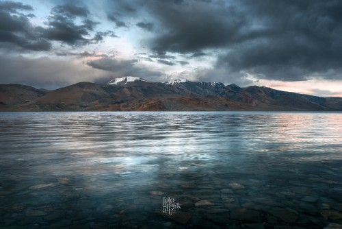Tso Moriri (high-altitude, fresh water lake in Changthang, Ladakh) at dusk, moments before a snow storm  Elevation: 4,500 mts ASL